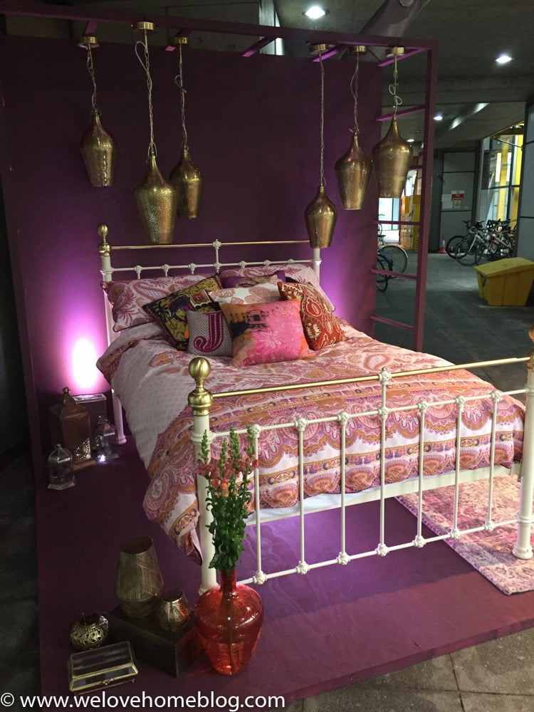 This was taken in the car park at Marks + Spencer's head office to welcome stylists into the press preview show. This bed linen was just beautiful to touch - heavily embroidered in rich cottons. I also love the brass lanterns and light fittings - such a neat idea. I just want to dive in - don't you?