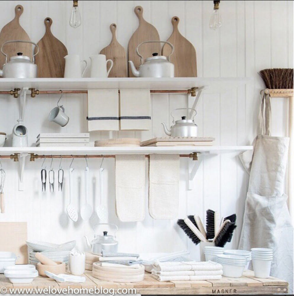 #4 They have large stripped wooden shelving to display bowls, cottons and homewares of wooden shelving units. As well as simple hooks on the walls to display lovely chopping boards and linen aprons. {We've totally stolen the idea for the copper rail for our kitchen} Shop in Brighton? LetInterior Stylist Maxine Brady from WeLoveHome show you her pick of the best stores in her home town. Starting with Workshop.