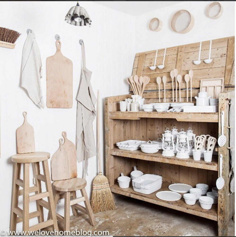 The shop is tiny but jam-packed with lots of ideas that you can take away for your own home. Here's my tips on how you can give your space a 'Workshop' look. #1 They have cleverly painted the walls white to create a clean backdrop for showcasing their selection of wooden bowls and old fashioned lanterns. The two floors of this shop are light and airy. I love the stripped back washed wood of the furniture, don't you? I'm a little bit in love with the brick flooring which has an industrial look too. Shop in Brighton? Let Interior Stylist Maxine Brady from WeLoveHome show you her pick of the best stores in her home town. Starting with Workshop.