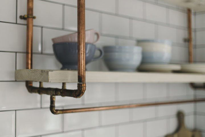 Open shelving in Maxine Brady's kitchen