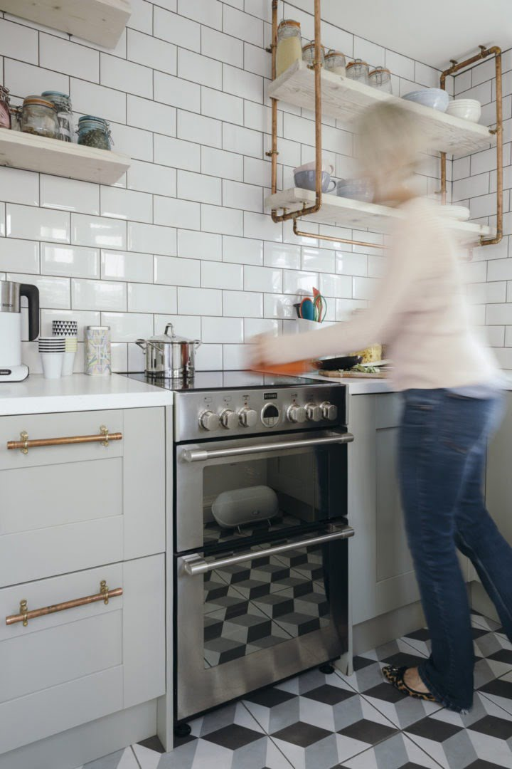 Maxine Brady with metro tiles and stylish cooker