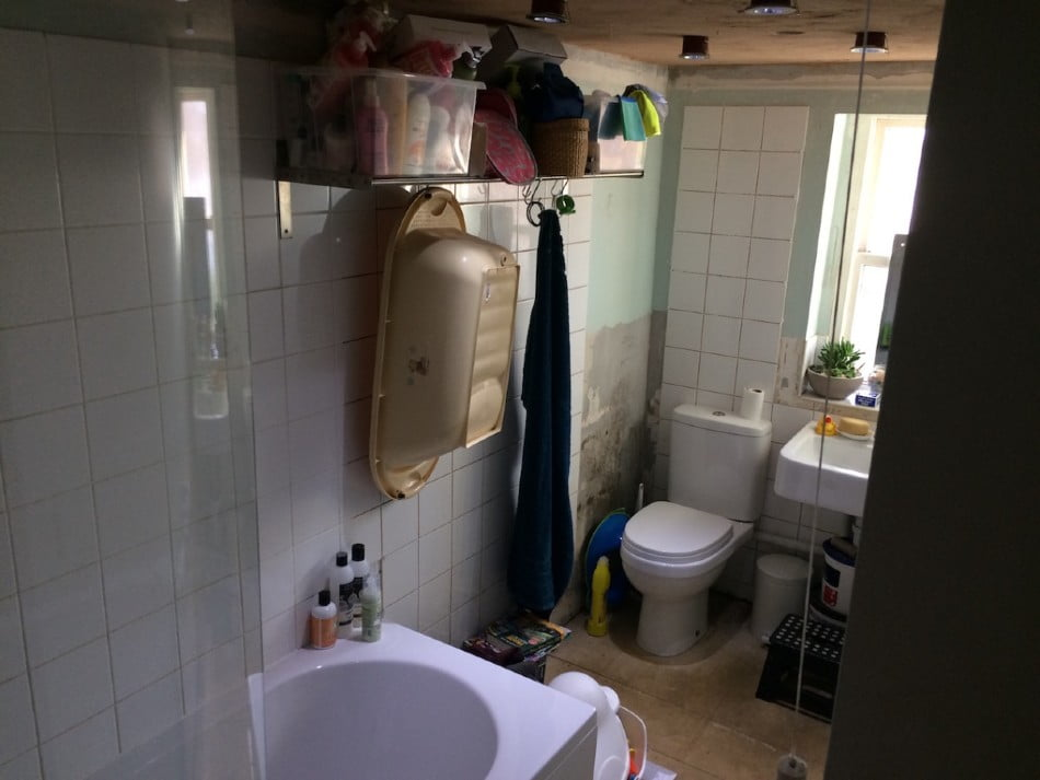 A before shot of the toilet and room