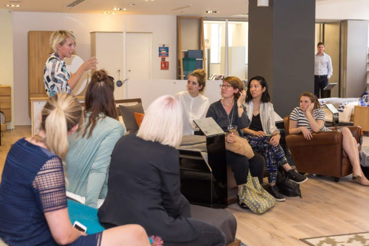 Maxine Brady giving a talk at Heals Sleep Relaunch