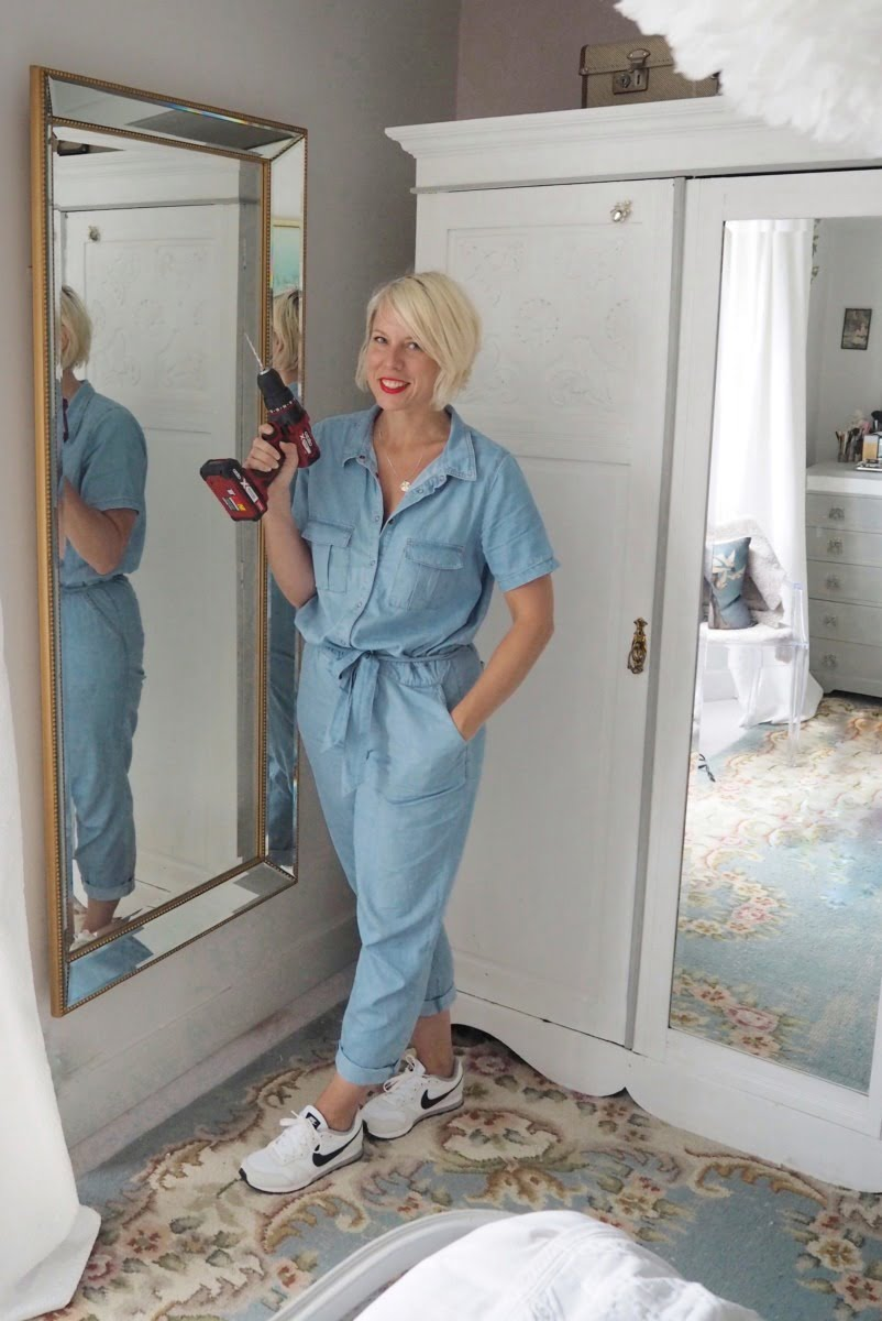 How to perfectly hang a mirror with just a few power tools, a jumpsuit and a bit of reddy lippy by Blogger + Interior Stylist Maxine Brady
