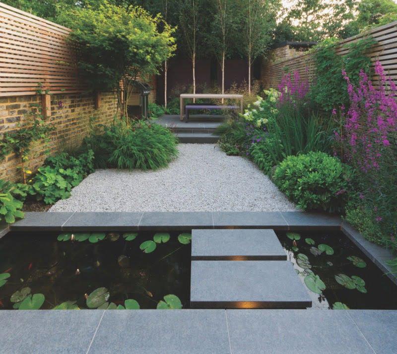 John Davis garden design - black granite paving