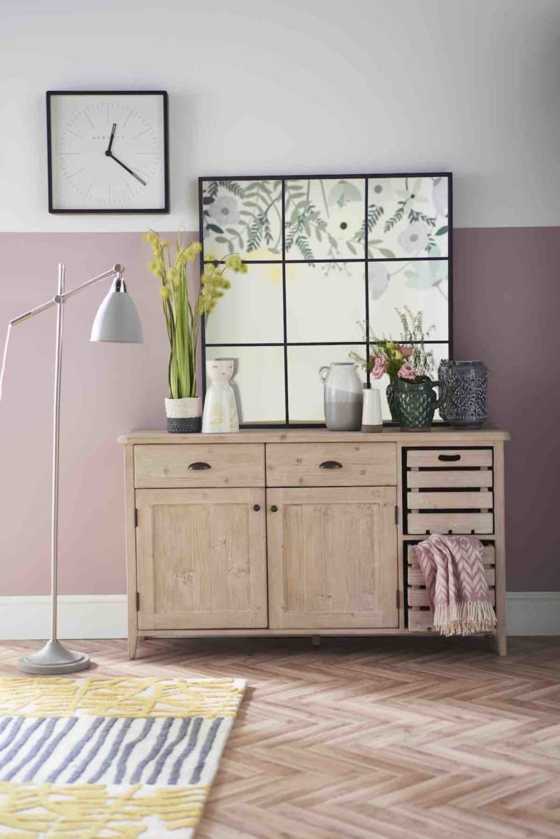 Embrace biggest Spring Summer interior trend for 2018 - botanical prints mixed together rustic woods, lavender and spring green tones as seen in Good Homes magazine. By Lifestyle Blogger & Interior Stylist Maxine Brady