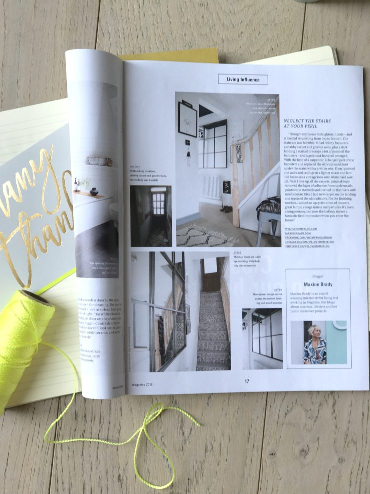 Interior Stylist and Lifestyle blogger Maxine Brady from We Love Home appears in leading German design magazine where they featured her staircase and hallway makeover www.maxinebrady.com