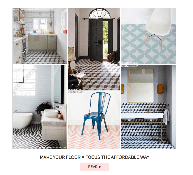 Interior Stylist Maxine Brady - and her lifestyle blog - We Love Home was handpicked by SheerLuxe as having one of the most beautiful (affordable) kitchen floors with bags of style.