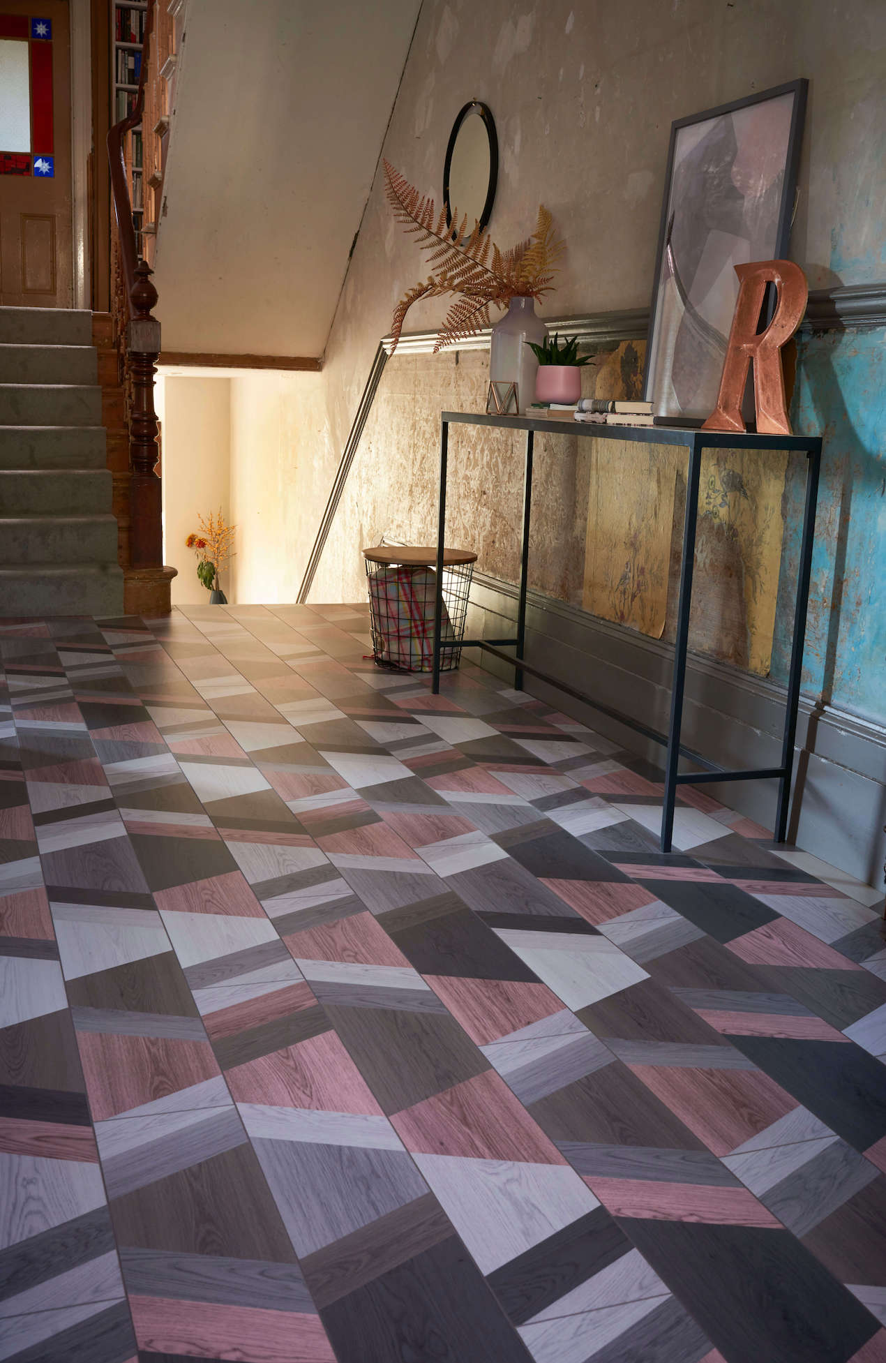 Hottest flooring trend this Spring is to take classic patterns and updated them with modern styling says Interior Stylist Maxine Brady at welovehomeblog.com