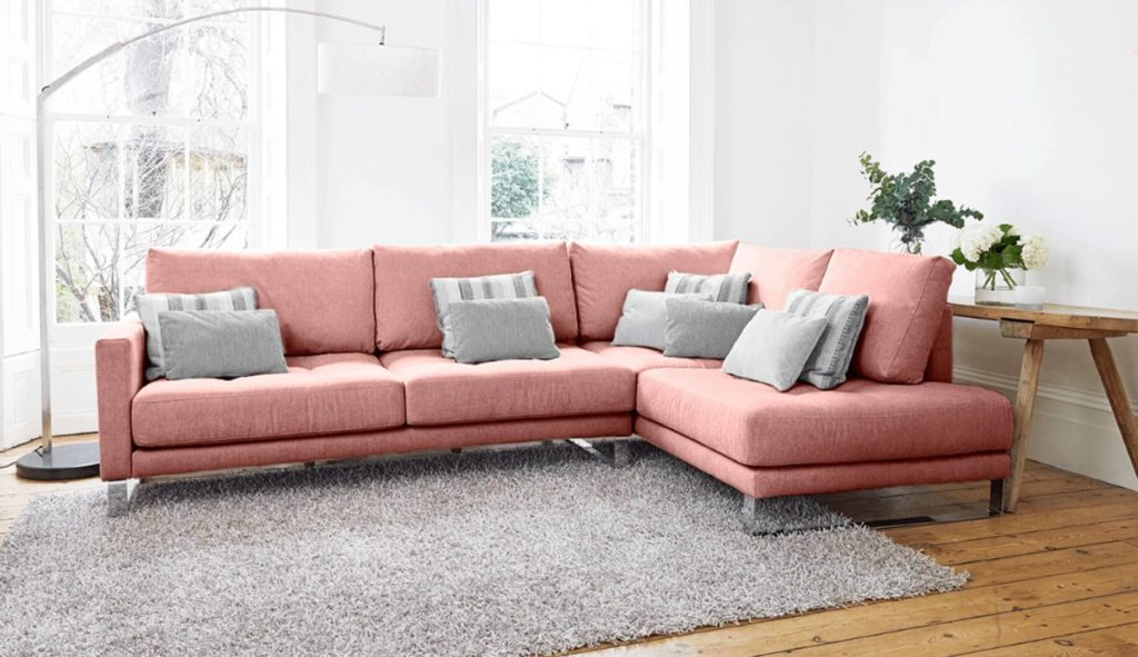 Discover these top 5 buyer's tips for buying a corner sofa by interior stylist and lifestyle blogger Maxine Brady from We Love Home Blog. pink corner sofa