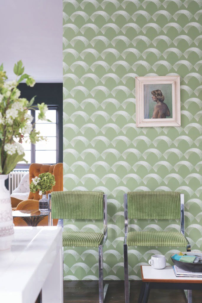 Tips on how to pick the perfect interior colour scheme. green dining room with Farrow & ball art deco wallpaper
