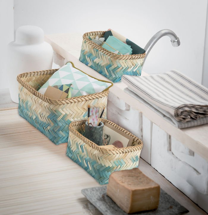 Bue baskets for bedroom storage