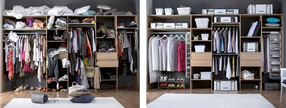 Before and after of a wardrobe with lots of stylish storage ideas for a neat and tidy home.