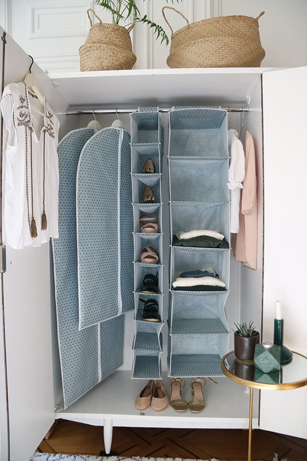 Discover how to tackle your bedroom clutter with these 6 stylish bedroom storage solutions for your home by interior stylist Maxine Brady. Blue bedroom wardrobe storage ideas.