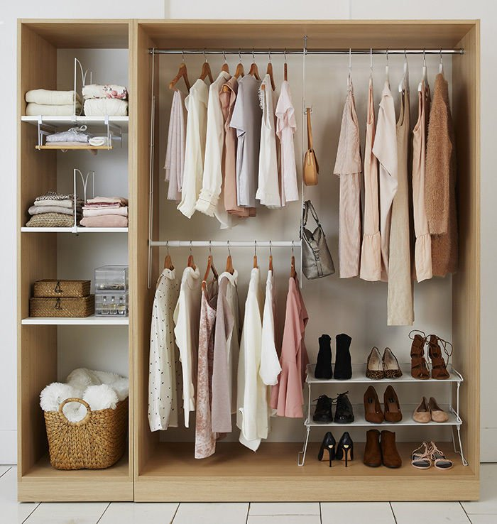 Discover how to tackle your bedroom clutter with these 6 stylish bedroom storage solutions for your home by interior stylist Maxine Brady. Pink wardrobe storage ideas