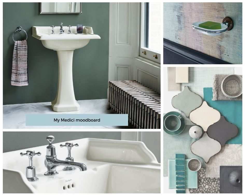Looking for bathroom inspiration? Interior Stylist Maxine Brady shares 3 modern ivory bathroom looks that you can try out in your home. Bathroom mood board with ivory, green, sage and wallpaper and tiles.