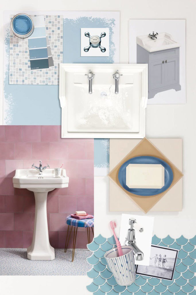 Looking for bathroom inspiration? Interior Stylist Maxine Brady shares 3 modern ivory bathroom looks that you can try out in your home. Blue and pink and grey bathroom with chrome fittings and mosaic tiles and a vanity unit.