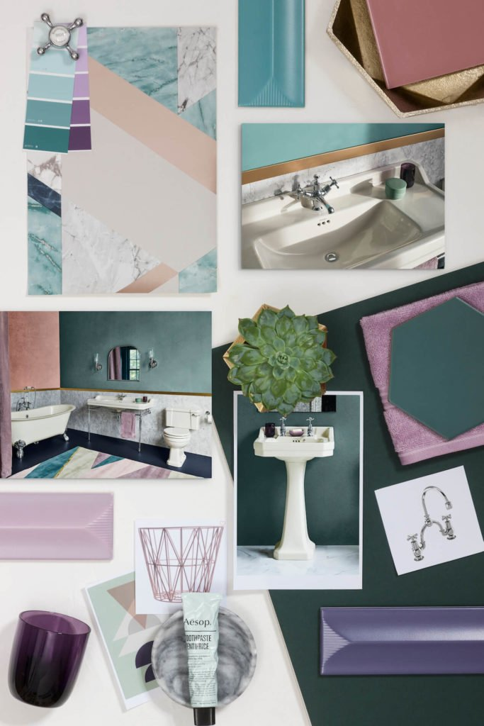 Looking for bathroom inspiration? Interior Stylist Maxine Brady shares 3 modern ivory bathroom looks that you can try out in your home.  Purple bathroom with  marble, geometric tiles, copper accessories and green walls