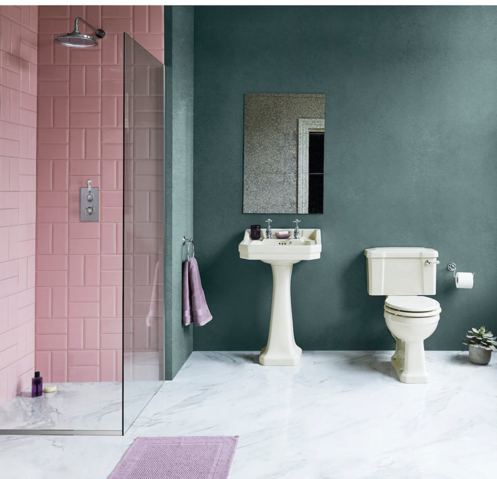 You'll Love These 3 ivory bathroom looks. Pink bathroom with teal walls and an ivory suite and chrome fittings.