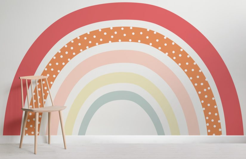 rainbow mural for kid's rooms and Happy Beds