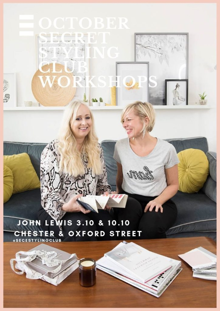 Come join my new interior styling workshop with Secret Styling Club and John Lewis. Join us for an evening of fun, styling and goodies bags.