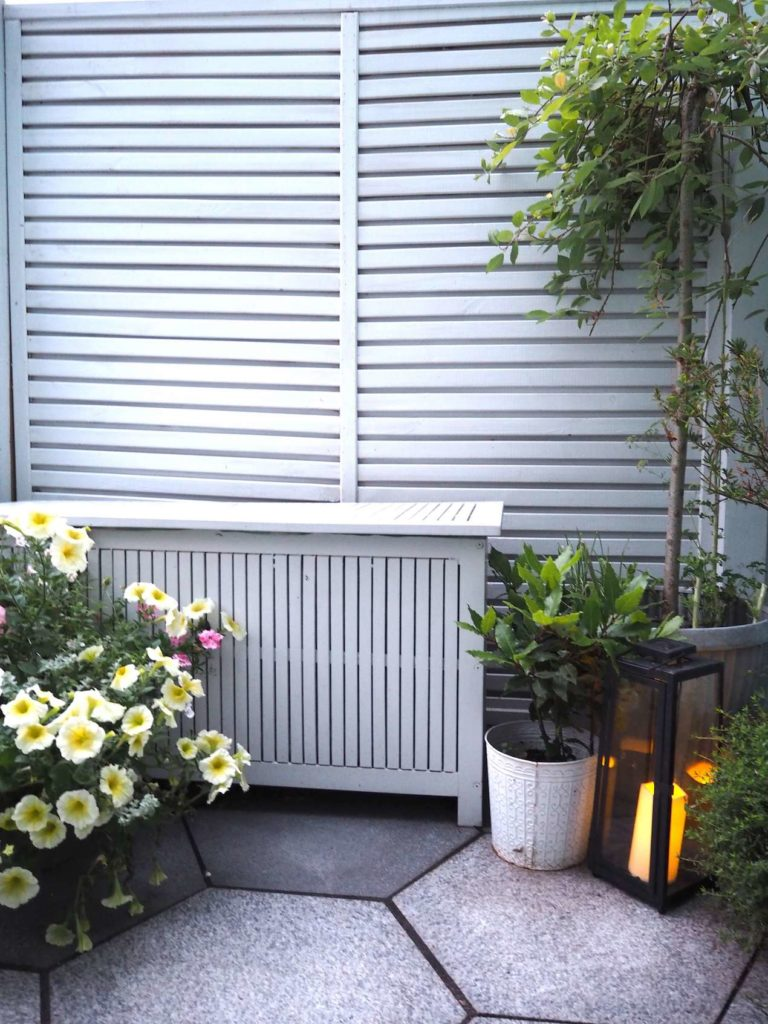 outdoor storage box in a garden