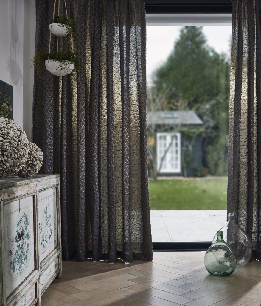 Discover 4 stylish ways to dress your windows this winter with the help of Interior Stylist Maxine Brady and Couture Living. Metallic curtain at windows