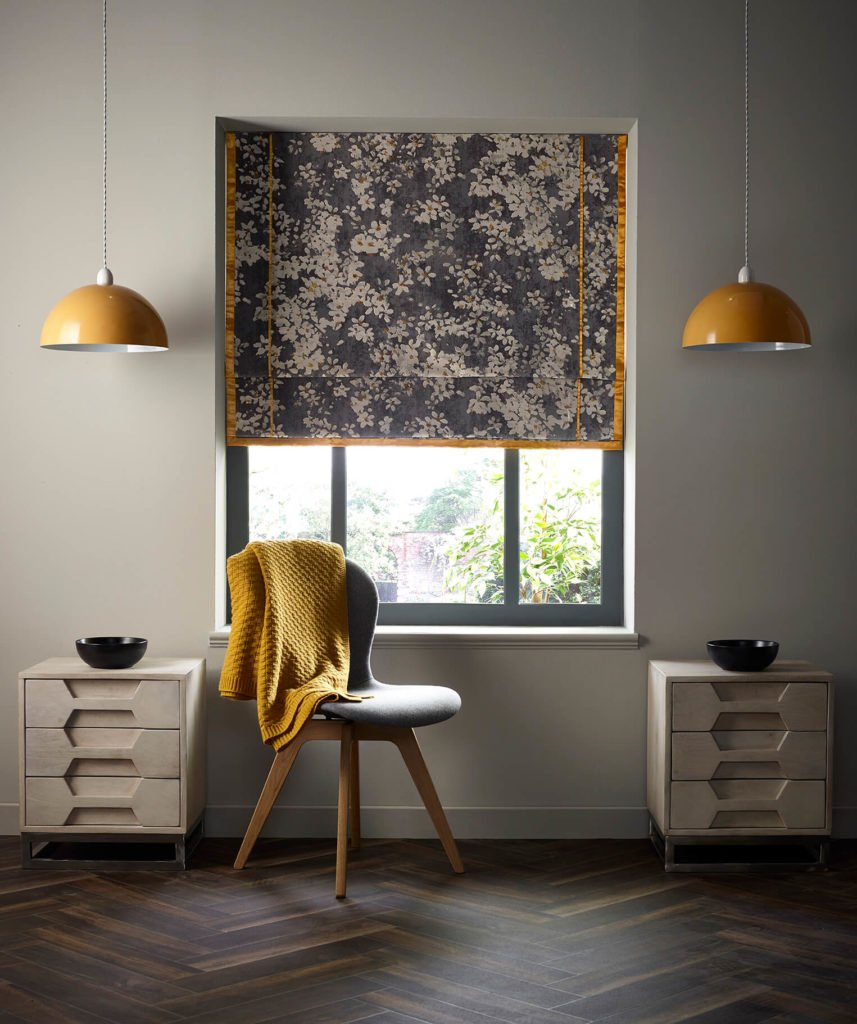 Fabric blind with mustard yellow trim in bedoroom