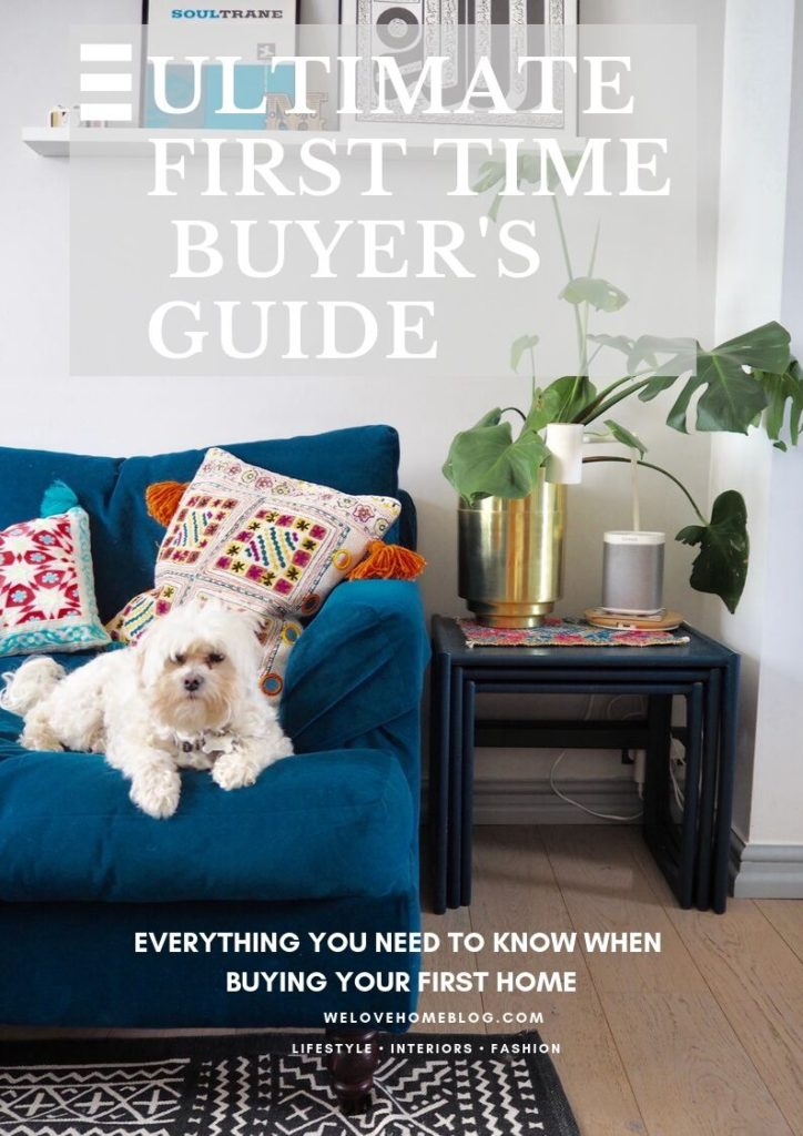 Follow these 5 key tips when buying your first home for a smooth purchase says interiors blogger Maxine Brady from We Love Home Blog Boho living room with painted fireplace, grey walls and art