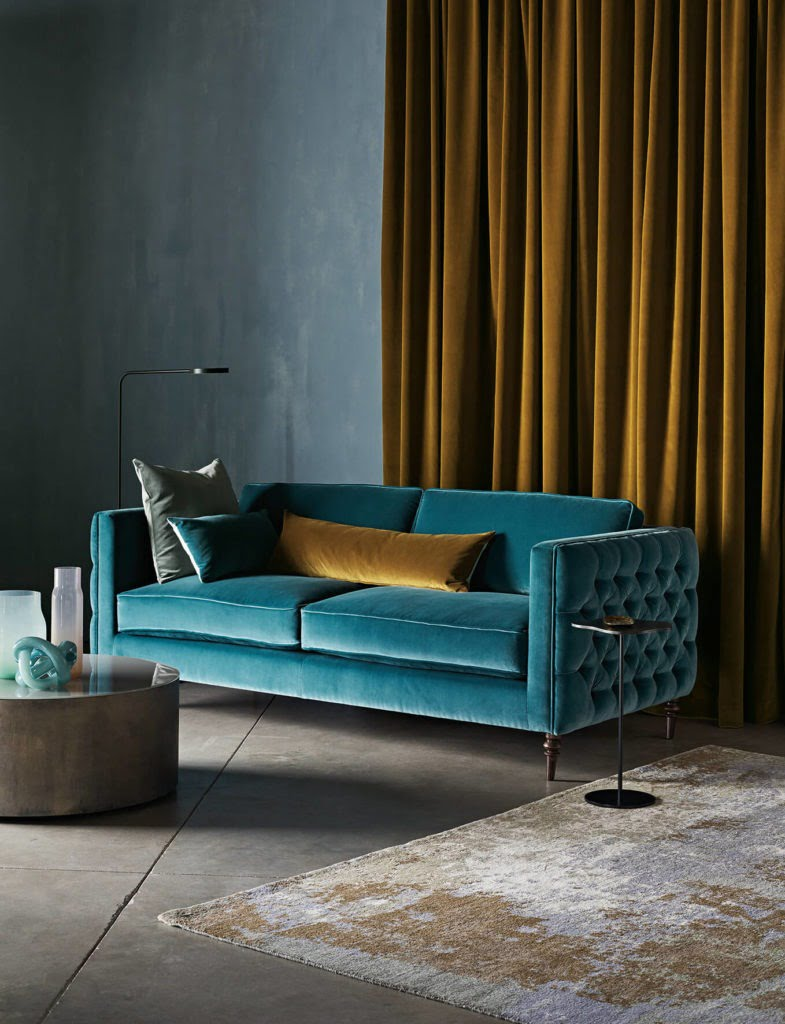 Discover 4 stylish ways to dress your windows this winter with the help of Interior Stylist Maxine Brady and Couture Living. Mustard velvet curtains and teal sofa