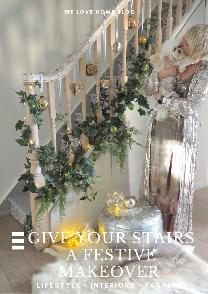 How to give your stairs (and hallway) a festive makeover using beautiful decorations with style tips from award winning interior stylist Maxine Brady