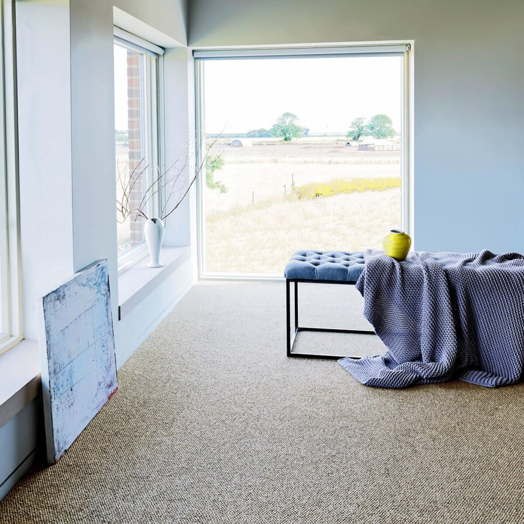 The Best Place To Buy Designer Carpets At Budget Prices by interior stylist Maxine Brady - living room with box windows, natural carpet, minimal interiors, coastal style.