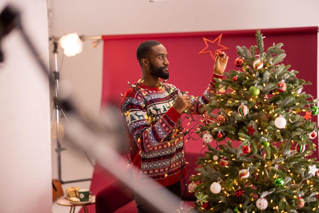 Interior Stylist, Maxine Brady, shares behind the scenes on Snug Sofa Christmas TV advert for the launch of their new Mulled Wine sofa