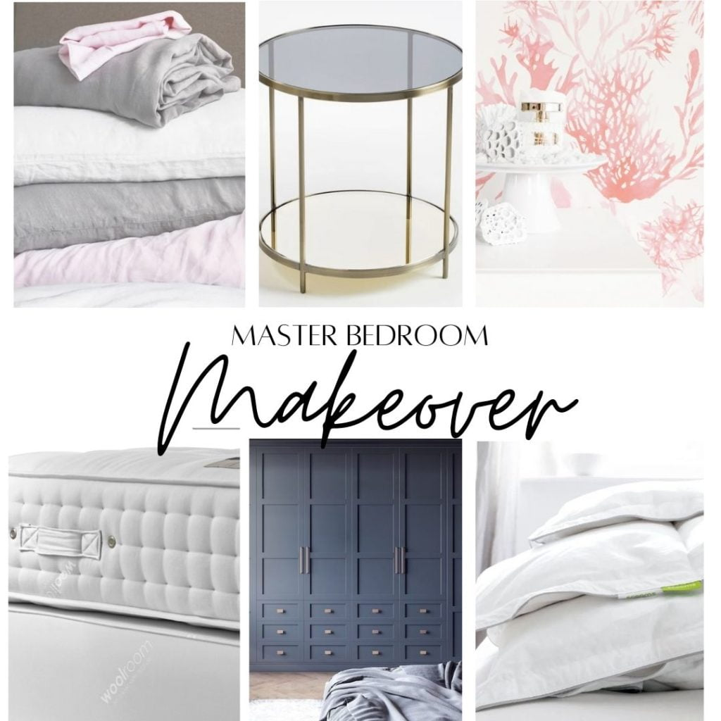 Be the first to see the plans for my bedroom makeover- (hint it has a coral wallpaper!) Pink and gold bedroom mood board