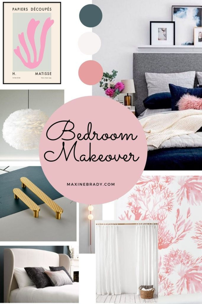 Be the first to see the plans for my bedroom makeover- (hint it has a coral wallpaper!) Blue and pink bedroom makeover mood board
