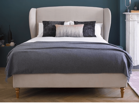Be the first to see the plans for my bedroom makeover- (hint it has a coral wallpaper!) Upholstered winged bed in linen fabric