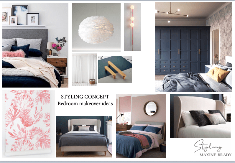Be the first to see the plans for my bedroom makeover- (hint it has a coral wallpaper!)  Blue & pink bedroom makeover mood board