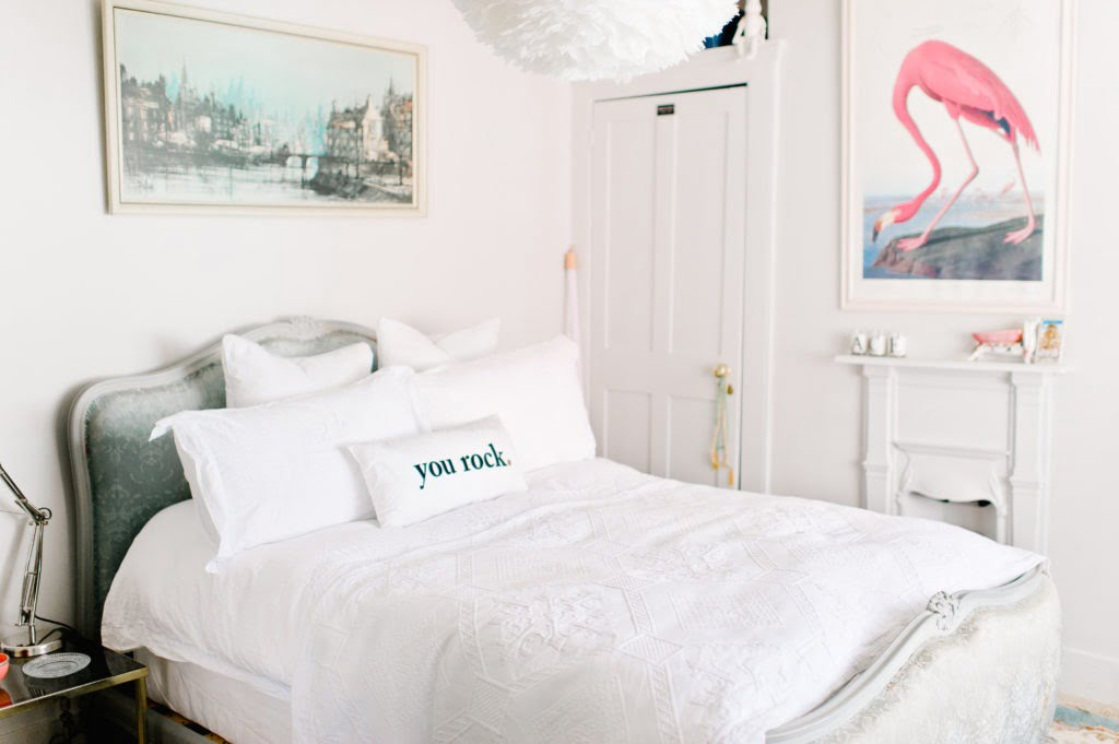 Be the first to see the plans for my bedroom makeover- (hint it has a coral wallpaper!) Pink and white bedroom with flamingo print